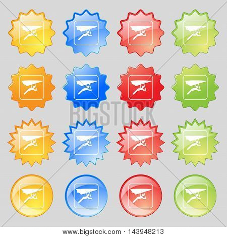 Hang-gliding Icon Sign. Big Set Of 16 Colorful Modern Buttons For Your Design. Vector