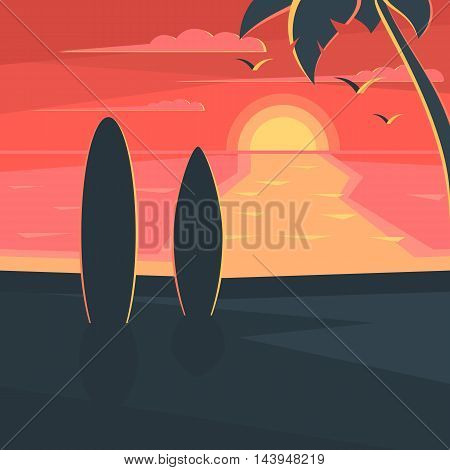 Sunset on the beach with surf and palm tree. Sea landscape. Seagulls in the sky at sunset. Vector illustration design for web banner, print promotional materials or greeting cards