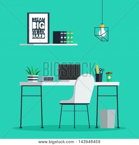 Workplace freelance interior with laptop, clock, coffee cup and plant on desk, home office. Trendy vector illustration in flat design for web banner and print