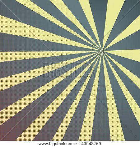 Colored Pop-Art Style blue yellow background Llichtenstein pop art. Pop art comic backdrop sunlight sun ray space. Funny halftone comics book background template. Vector illustration