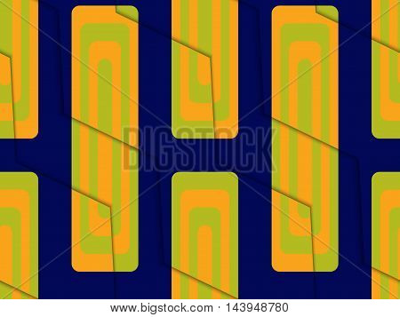 Retro 3D Blue Green And Orange Zigzag Cut With Rectangles