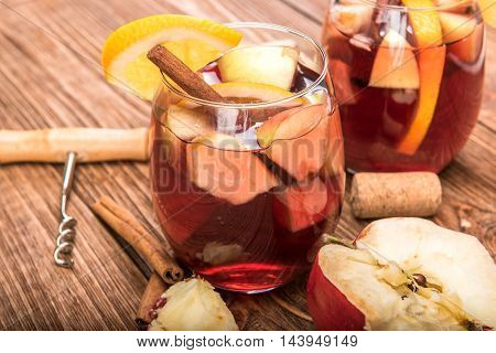 Homemade red wine sangria with apples and oranges