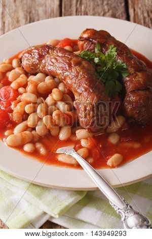 Sausages With Beans In Tomato Sauce Close-up. Vertical