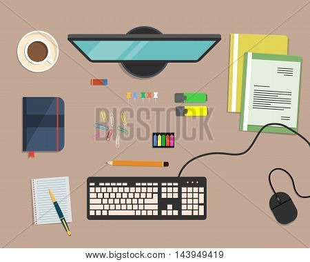 Top view of a desk background, where there is a monitor, keyboard, computer mouse, color folders, markers, other stationery and cup of coffee. Flat design vector illustration