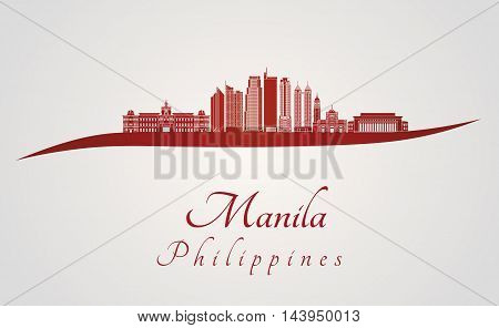Manila skyline in red and gray background in editable vector file