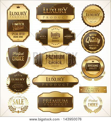 Premium And Luxury Golden Retro Badges And Labels Collection 3.eps