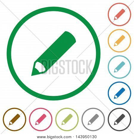 Set of pencil color round outlined flat icons on white background