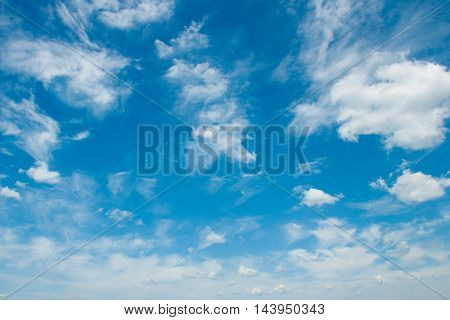 blue sky with white clouds beautiful different shapes