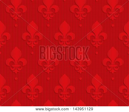 Red Royal Lily On Checkered Background