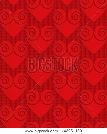 Red Solid Swirly Hearts On Checkered Background