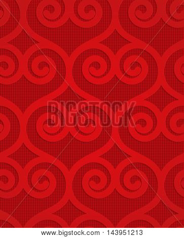 Red Swirly Hearts On Checkered Background