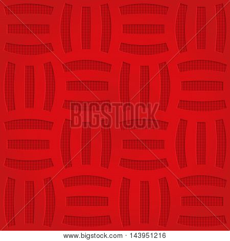 Red Three Striped Grid On Checkered Background