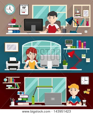 Students boys and girl sitting at table and doing homework with book and computers. Education and back to school flat style illustration for web design and flyers