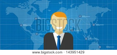 world leader global executive manager corporate male smile with map connected vector