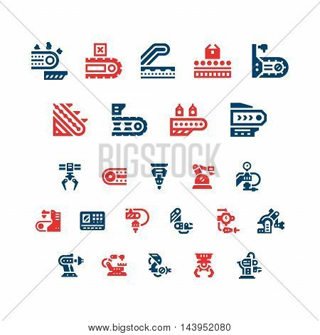 Set color icons of conveyor and robotic industry isolated on white. Vector illustration