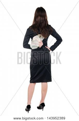 Beautiful young woman with money. Rear view.