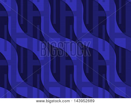 Retro 3D Blue Wavy With Rectangles