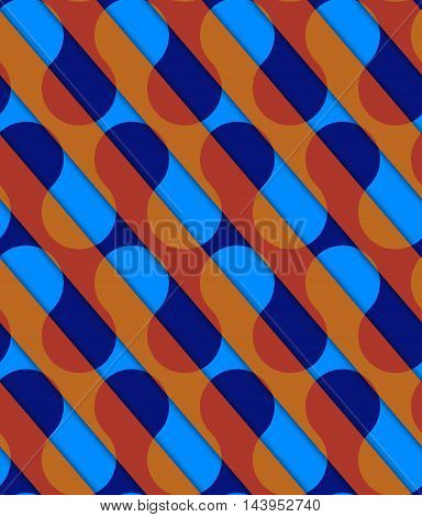 Retro 3D Diagonal Cut Blue And Orange Waves
