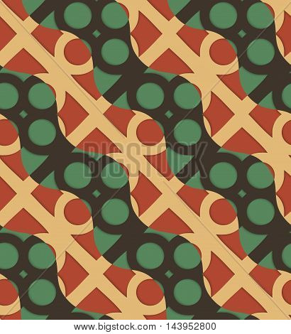 Retro 3D Green And Brown Waves And Circles