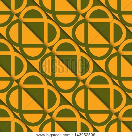 Retro 3D Green And Orange Diagonally Cut Intersecting Ovals