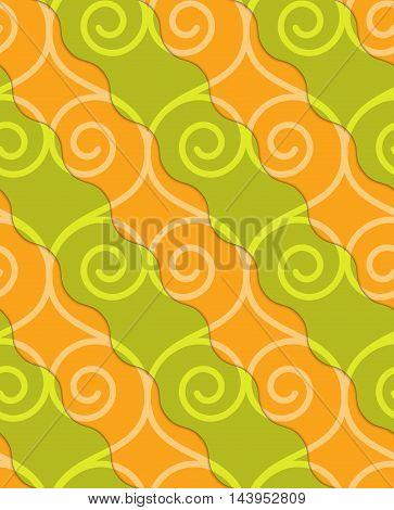 Retro 3D Green And Orange Swirly Hearts