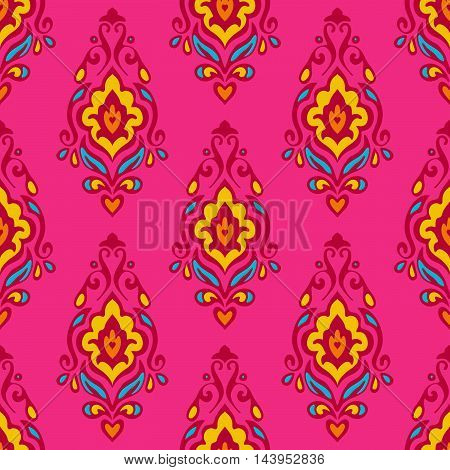 Damask vector festive pink abstract seamless pattern