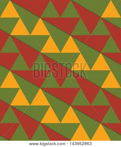 Retro 3D Green Yellow Brown Diagonal Triangles