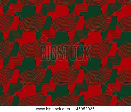 Retro 3D Red And Green Zigzag Cut Ribbons