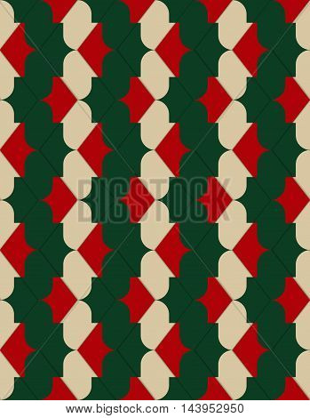 Retro 3D Red Green And Yellow Zigzag