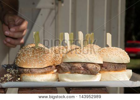 Hamburger. Vintage Hamburger. Home Made Burger. Fastfood Meal. Pub Burger. Delicious Hamburger.