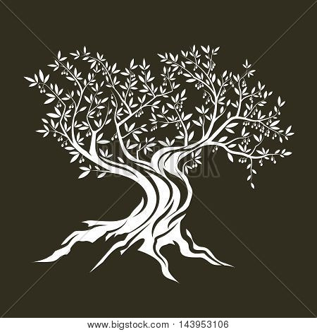Olive tree silhouette icon isolated on green background.