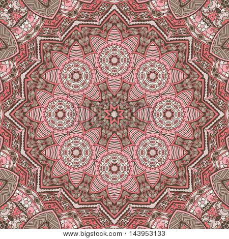 Vintage seamless pink abstract mandala vector pattern texture ornamental