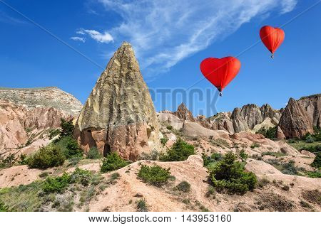 Balloon on a background of colored mountains