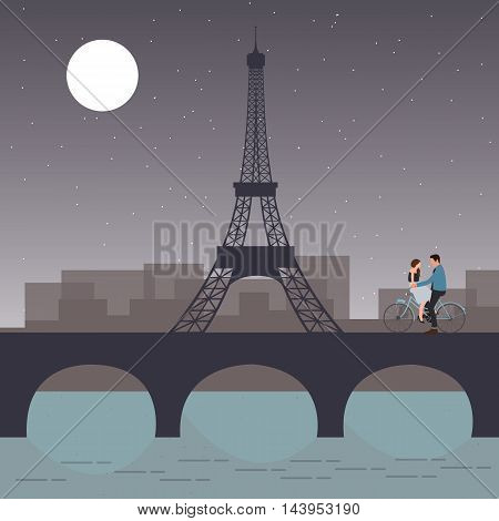 couple bicycle in paris with eiffel tower romantic night city sky with moon in the bridge vector