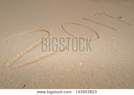 New Year 2017 Coming, On A Beach Sand, Summer