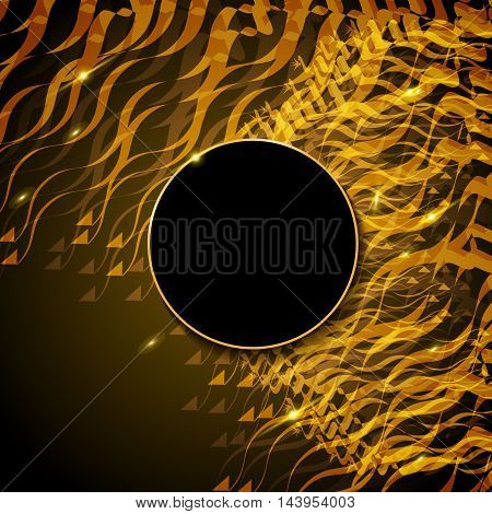 Fire on dark abstract background. Bright Golden glare. Vector abstract Fire. Line moving flames fire.