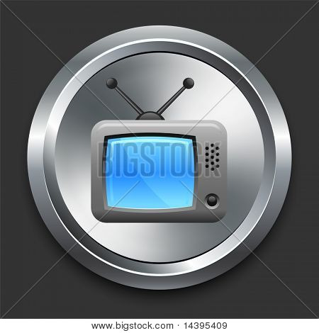 Television Icon on Metal Internet Button Original Vector Illustration