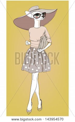 cute fashion hipster dog with bag. vector illustration