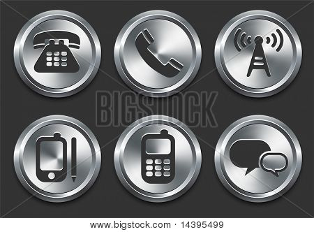 Technology Icons on Metal Internet Button Original Vector Illustration