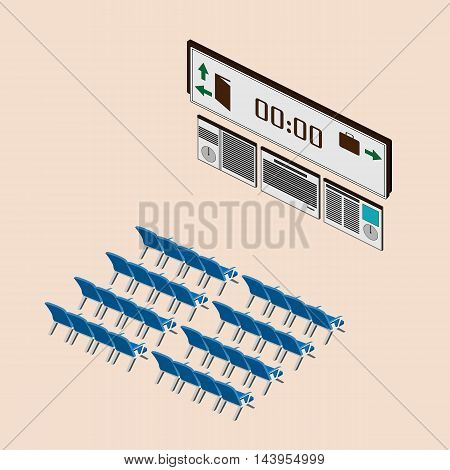 waiting room at the airport or train station. Isometric vector illustration