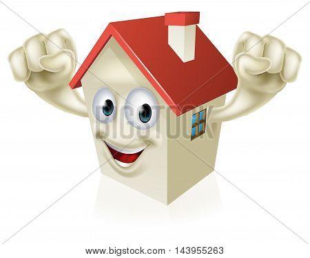 Happy Cartoon House Mascot