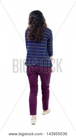 back view of walking  curly woman.  backside view of person.  Rear view people collection. Isolated over white background. Long-haired curly girl is looking to the side.