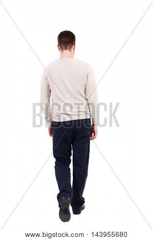 back view of Business man  looks.  Rear view people collection.  backside view of person.  Isolated over white background. The bearded man in a white warm sweater is slowly moving forward.