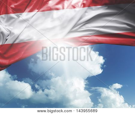 Austria flag on a beautiful day