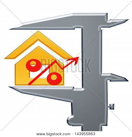 Red percent sign and мeasuring tool . The concept of price changes on the real estate market .