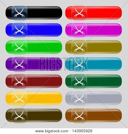 Crossed Saber Icon Sign. Set From Fourteen Multi-colored Glass Buttons With Place For Text. Vector