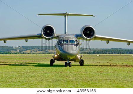 KHARKIV UKRAINE - AUGUST 20 2016: Antonov An-72 of Ukrainian National Guard parked at the airport Korotych Kharkov region Ukraine on August 20 2016