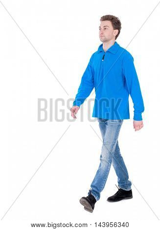front view of going  handsome man. walking young guy . Rear view people collection.  backside view of person.  Isolated over white background. Curly boy in the blue jacket comes to meet us.