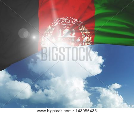 Afghanistan flag on a beautiful day