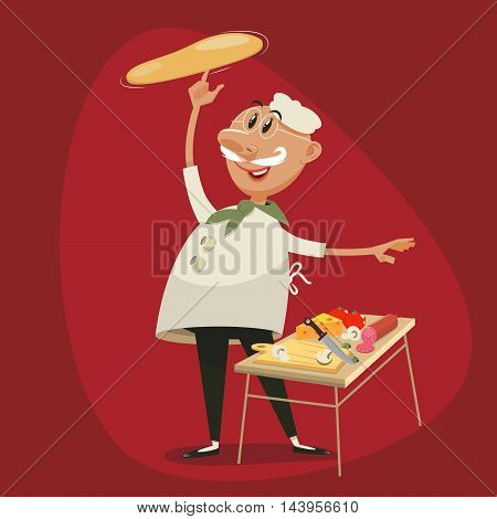 Pizza cooking by chef. Cartoon character colorful vector illustration